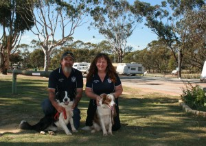 Park managers Gary and Kat, with Dusty and Roxy