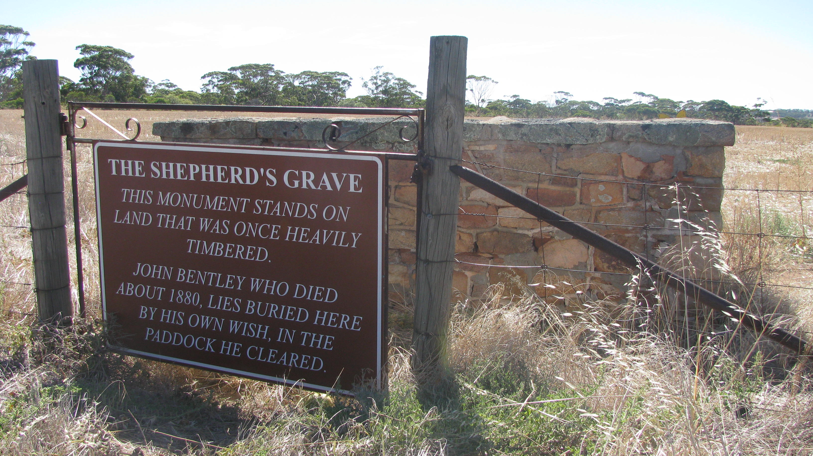 Plaque at the Shepherd's Grave, Goomalling WA
