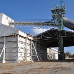 Where trucks unload grain at the Goomalling domes