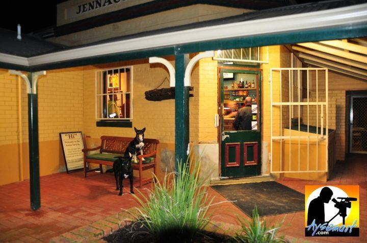 Locals outside Jennacubbine Tavern, Goomalling