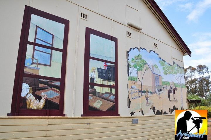 Murals on the walls of the Goomalling Museum, Western Australia