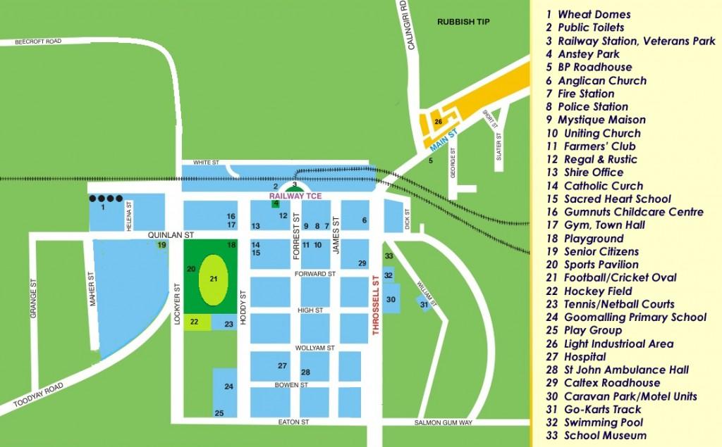 Street map of Goomalling WA
